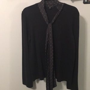 NWT Ann Taylor sweater xl black / pink polka dot